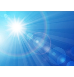 Sun on a blue sky vector image vector image