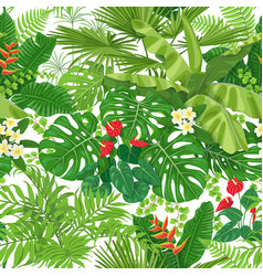 Tropical leaves and flowers pattern vector