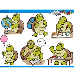 Turtle character student cartoon set vector