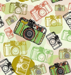 Vintage film camera seamless pattern pastel vector image