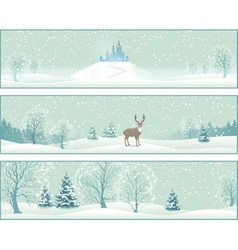 Winter landscape banners vector