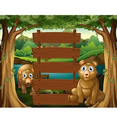 Wooden sign and bears in the woods vector