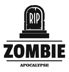Zombie death logo simple black style vector