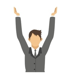 Businessman with arms up icon vector