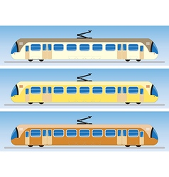 Side view of tram car or trolley car flat design vector