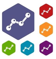 Chart statistics line icons set vector