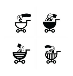 Shopping cart icons business style vector