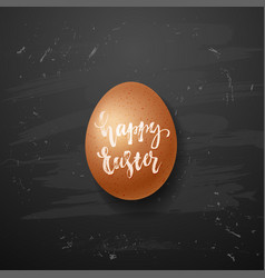 Brown chicken eggs on blackboard background vector