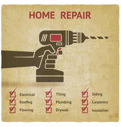 Hand with drill home repair concept vector