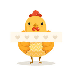 Funny cartoon chick bird standing and holding vector