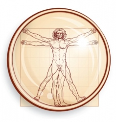 Vitruvian man under microscope vector