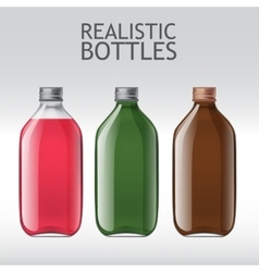 Realistic glass bottles empty transparent set vector