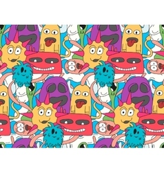 Doodle monsters seamless pattern in bright colors vector