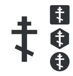 Orthodox cross icon set monochrome vector
