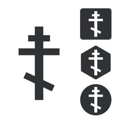 Orthodox cross icon set monochrome vector image