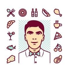 Restaurant waiter icons vector