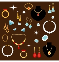 Jewelleries and gemstones flat icons vector