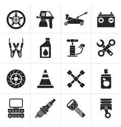 Black transportation and car repair icons vector