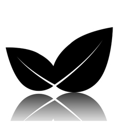 Black leaf icon vector