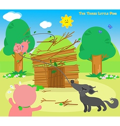 the three little pigs 6 blowing wolf vector image