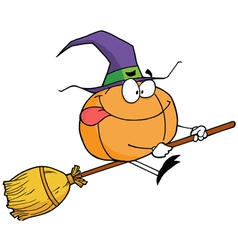 Pumpkin character witch on a broom stick vector