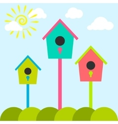 Nesting box cartoon set meadow with colorful bird vector