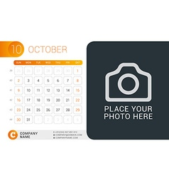Desk calendar for 2016 year october design print vector