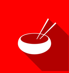 Bowl with asian food and pair of chopsticks icon vector