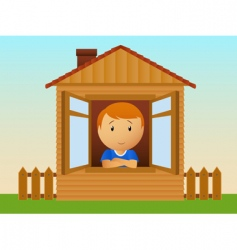 boy in the wooden house vector image vector image