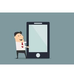 Cartooned businessman presenting big smartphone vector image vector image