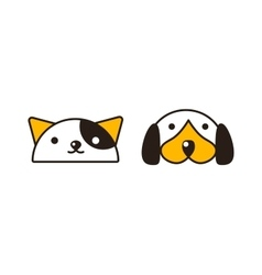 Cat and dog heads vector image