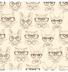Cat hipsters seamless pattern vector image vector image