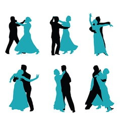 Couple ballroom dancing silhouette vector