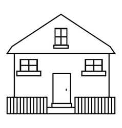 Cute house icon outline style vector