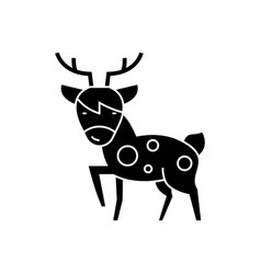 Deer icon black sign on vector