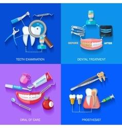 Flat 2x2 Dentist Icons Set vector image