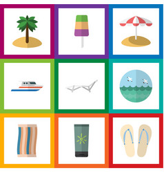 Flat icon beach set of sundae coconut ocean and vector