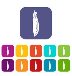 fresh peas icons set vector image vector image