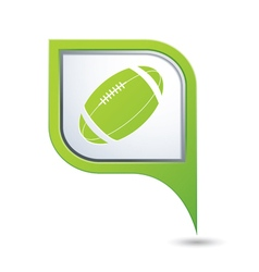 Green map pointer with american football icon vector