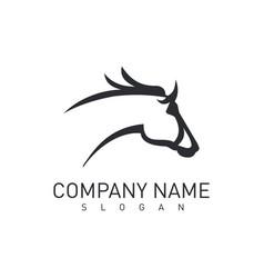 grey horse head logo vector image vector image