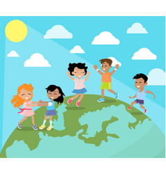 happy children dancing on planet earth flat vector image