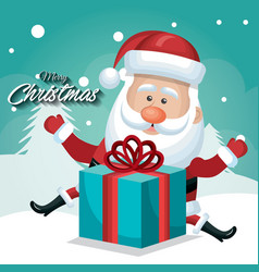 happy santa claus with big gift card merry vector image vector image