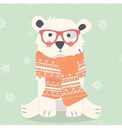Merry christmas postcard with hipster polar white vector