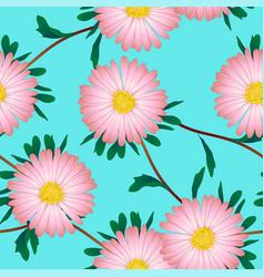 Pink aster flower on blue background vector