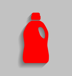 plastic bottle for cleaning red icon with vector image vector image