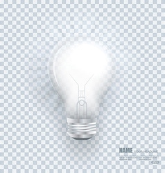 Realistic bulb with light effects on clean vector