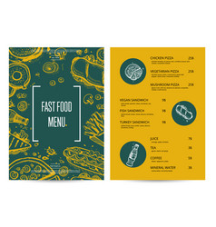 restaurant menu with food pencil doodles vector image vector image