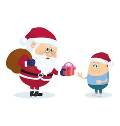 Santa Claus and boy vector image vector image