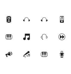 set of 12 editable audio icons includes symbols vector image vector image