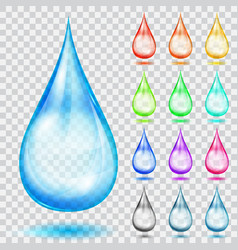 Set of transparent multicolored drops vector